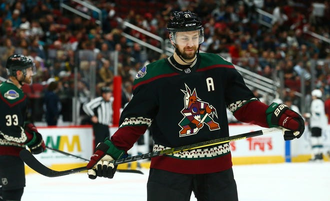 Arizona Coyotes center Derek Stepan pauses on the ice during the first period of an NHL hockey game against the San Jose Sharks Saturday, Dec. 8, 2018, in Phoenix.