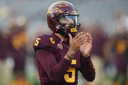 Arizona State quarterback Manny Wilkins warms up prior to facing Stanford at Sun Devil Stadium on Oct. 18.  Joe Camporeale-USA TODAY Sports