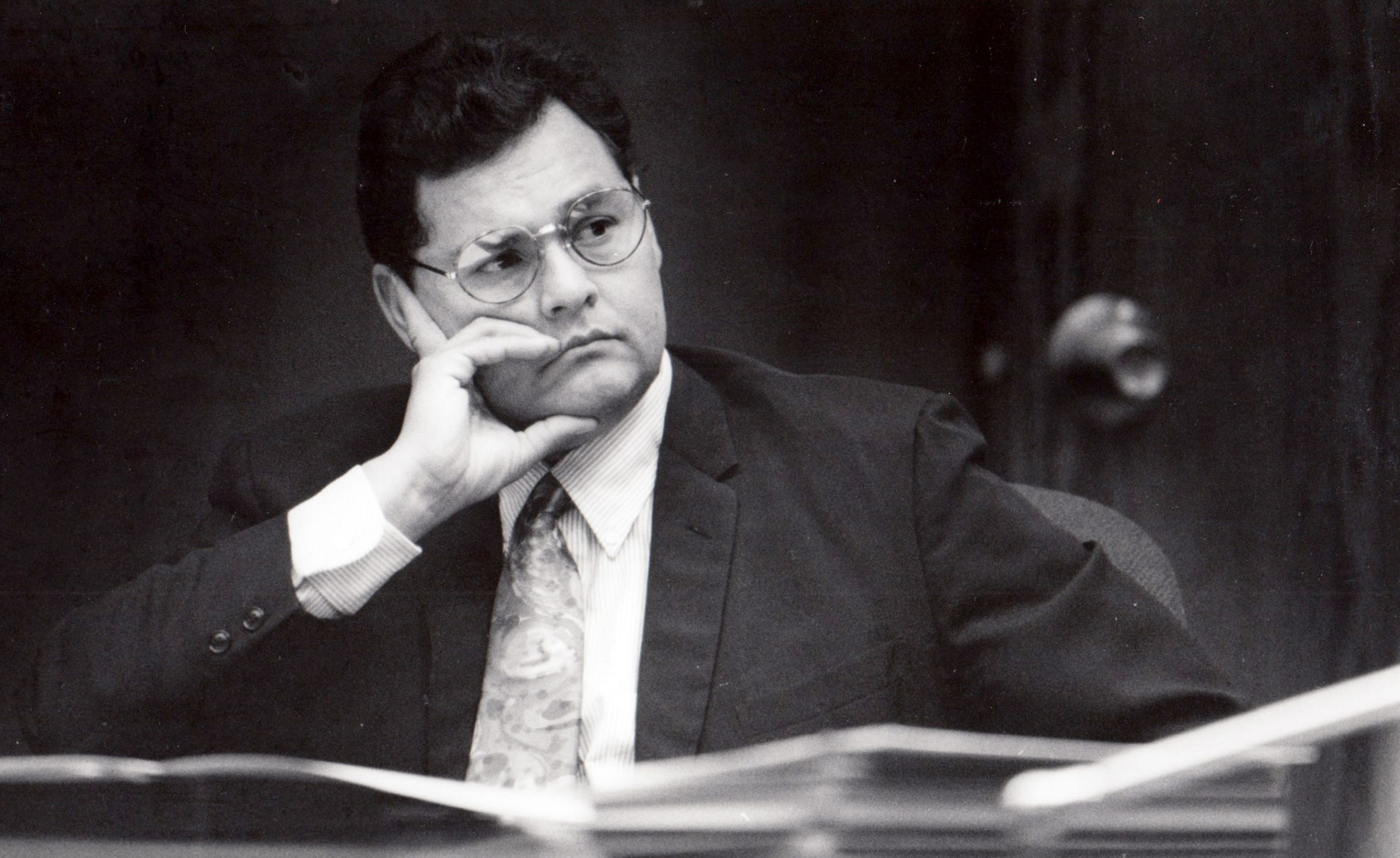 Then-state Sen. Armando Ruiz listens during a meeting at the Capitol on April 4, 1991.