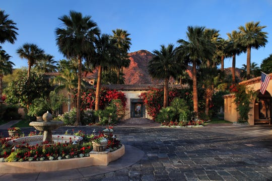The entrance to the Royal Palms Resort & Spa.