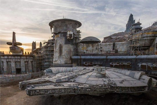 Han Solo's ship, the Millennium Falcon, appears ready to take flight in Star Wars: Galaxy's Edge, opening at Disneyland in summer 2019.