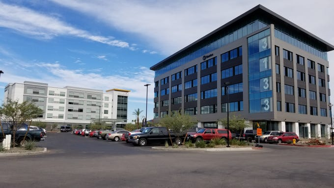 Construction of a six-story office building at Chandler Viridian, a mixed-use development off Loop 101 in Chandler, will be completed in December 2018.