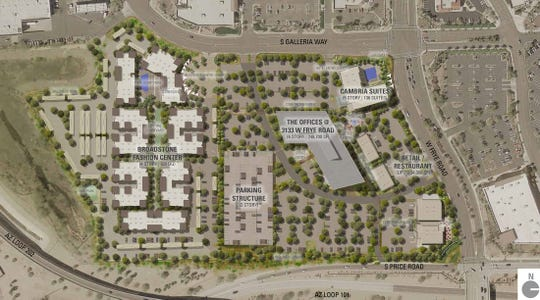 Chandler Viridian, a mixed-use development near Loops 101 and 202 in Chandler, features residential, hotel and office space.