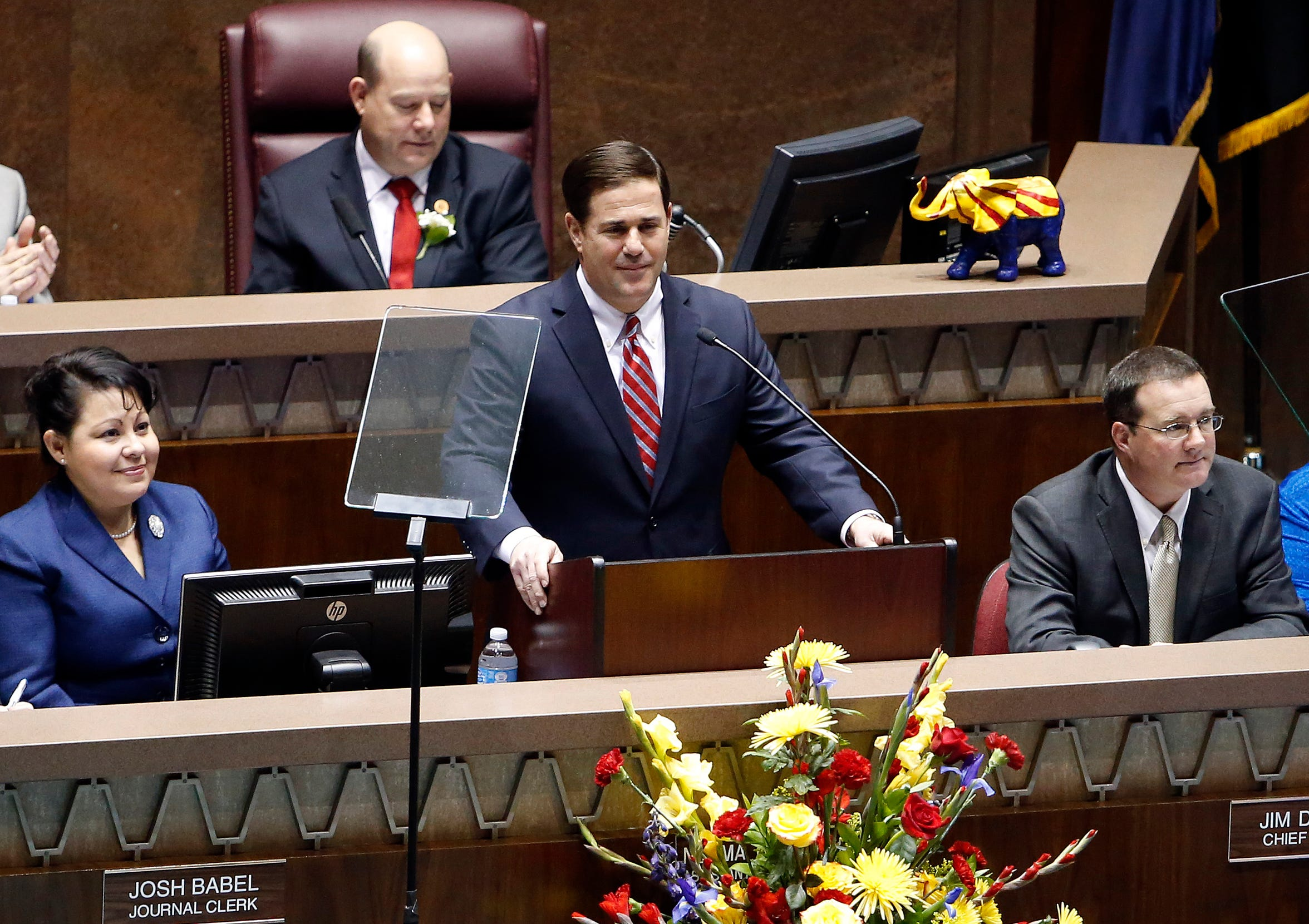 Gov. Doug Ducey presents his State of the State address on Jan. 11, 2016, in Phoenix.