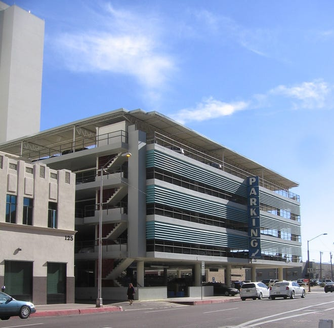 The Luhrs Parking Garage today, at First Avenue and Madison Street in downtown Phoenix.