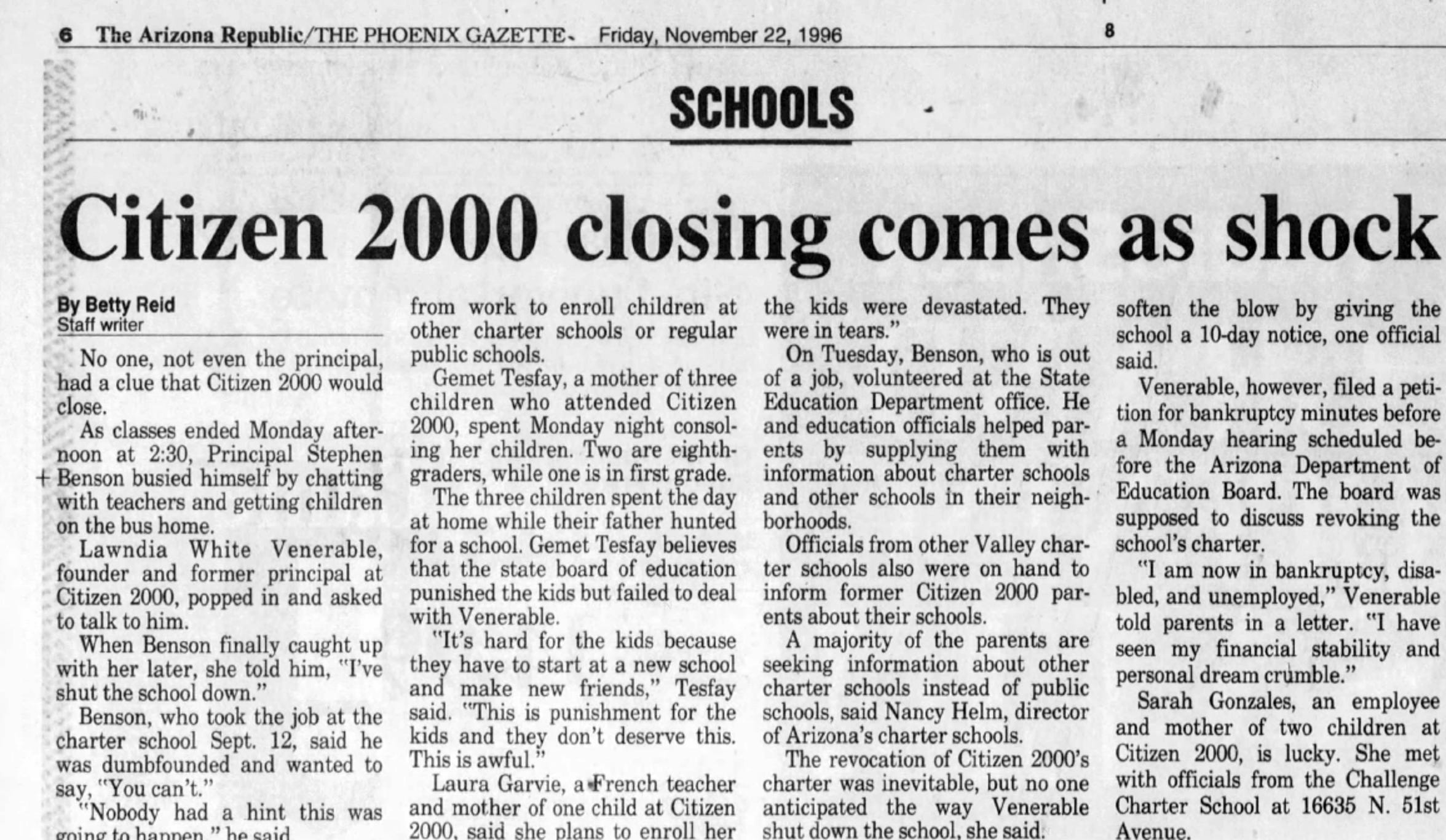 A clipping from the Nov.  22, 1996, edition of The Arizona Republic shows the Citizen 2000 closing.