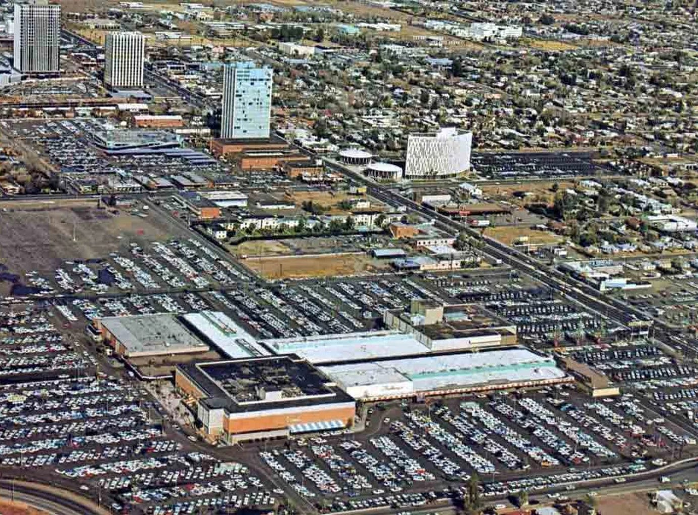 After the end of World War II, more families had cars and disposable income, and soon shopping centers like Park Central Mall in Phoenix sprung up. It's seen here in the 1960s.