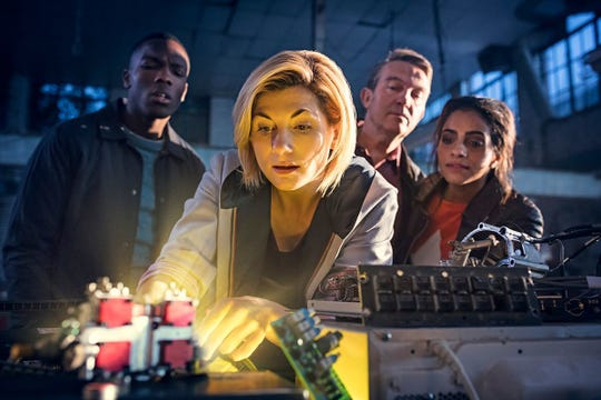 """Ryan Sinclair (Tosin Cole), left to right, The Doctor (Jodie Whittaker), Graham O'Brien (Bradley Walsh) and Yasmin Khan (Mandip Gill) on """"Doctor Who."""""""