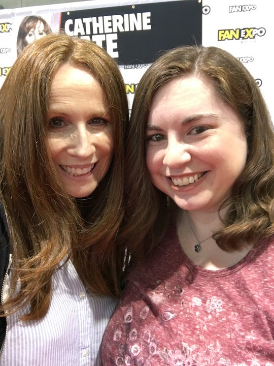"""Lindsay Beaumont is shown with """"Doctor Who"""" actor Catherine Tate at 2018 Boston Comic Con."""