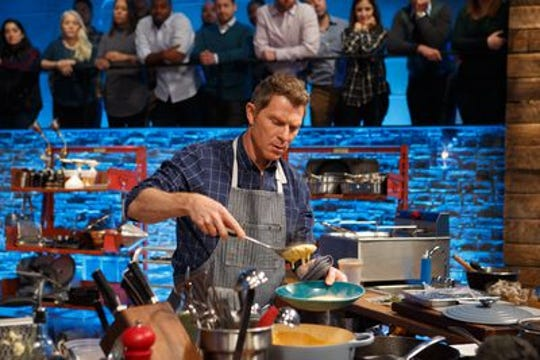 "Bobby Flay on the set of ""Beat Bobby Flay."""