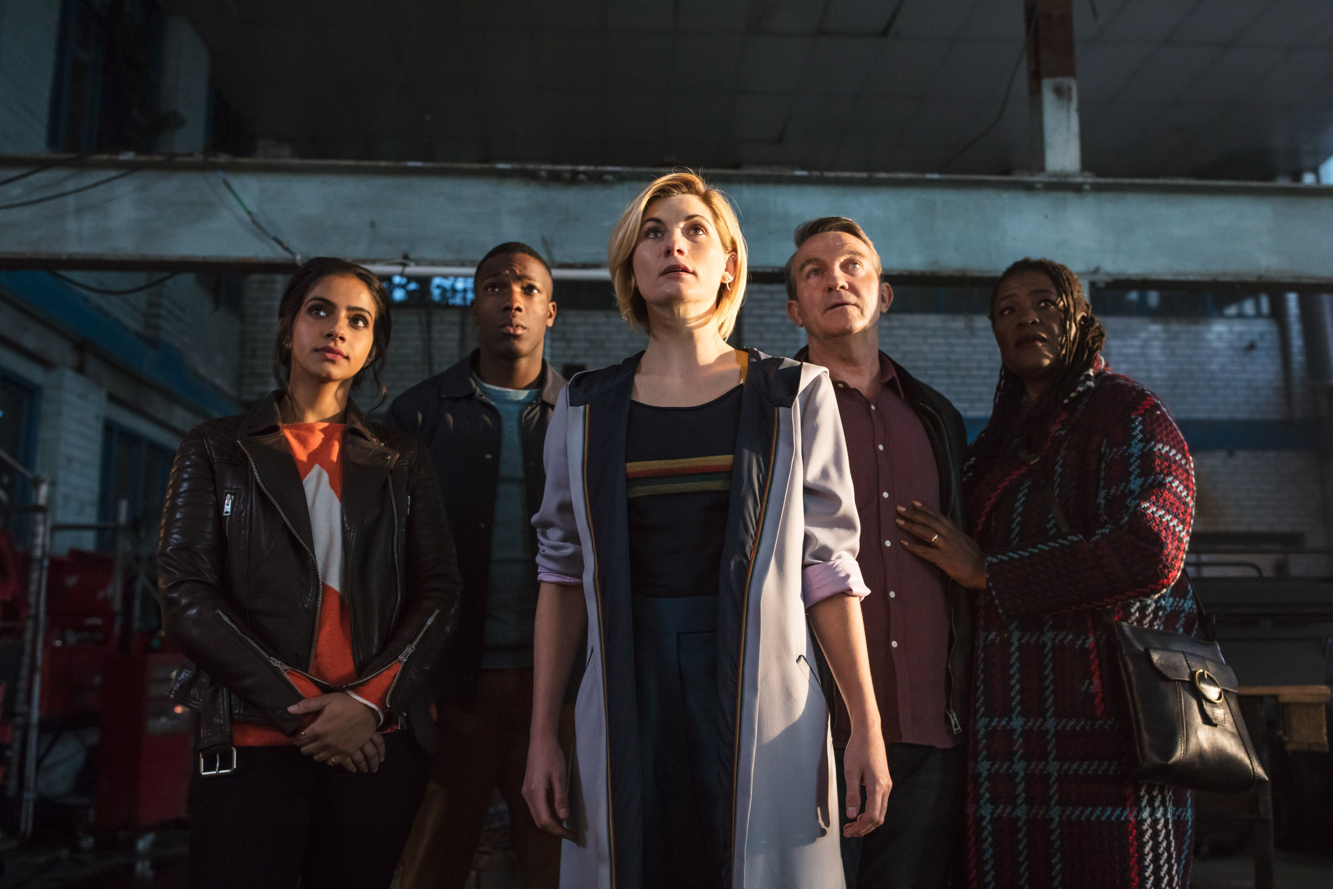 """Yasmin Khan, left to right, (Mandip Gill), Ryan Sinclair (Tosin Cole), The Doctor (Jodie Whittaker), Graham O'Brien (Bradley Walsh) and Grace (Sharon D. Clarke) are shown in a scene from """"Doctor Who."""""""