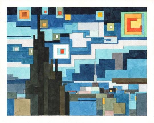 "Adam Lister's ""Starry Night"" is on view at Denizen Theatre Gallery in New Paltz."
