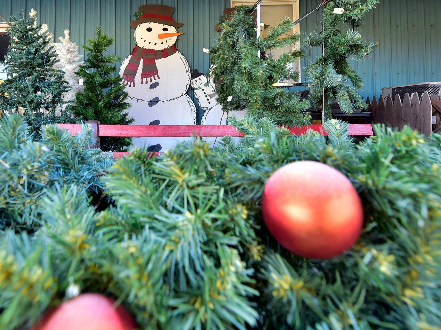 Artificial Christmas trees and wreaths are available for customers at Battlefield Thrift Store at 868 Lincoln Way West, Chambersburg.