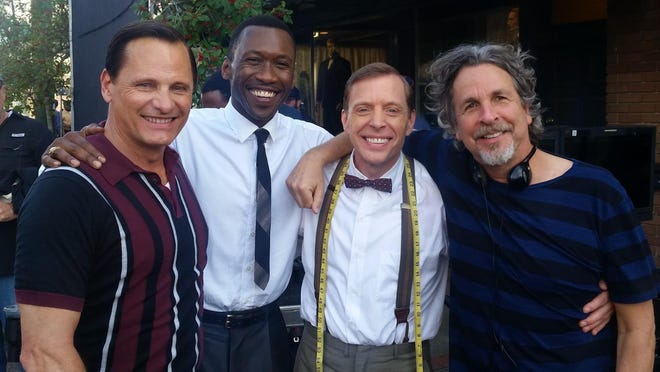 "Shane Partlow (middle right) poses with ""Green Book"" actors Viggo Mortensen (far left) and Mahershala Ali (middle left), and director Peter Farrelly (far right). Partlow, who resides in Fayettevile part of the year, appeared in a small role for the Golden Globe nominated film."