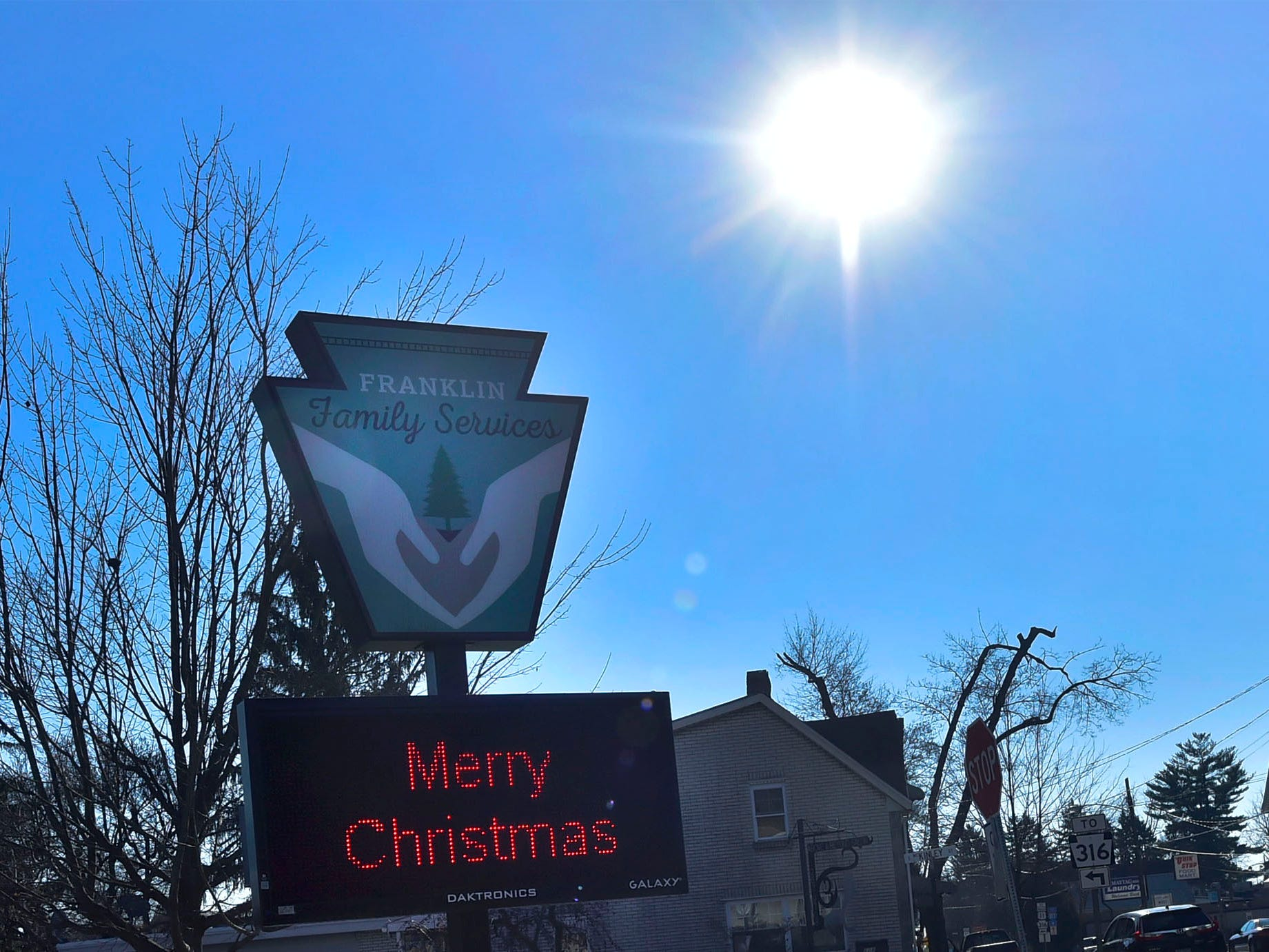 A Christmas message a displayed on an electronic sign Tuesday, December 11, 2018 at Franklin Family Services, McKinley Street, Chambersburg.