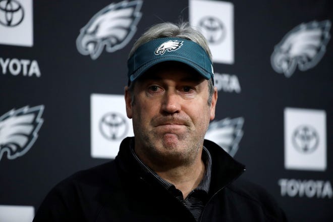 Philadelphia Eagles head coach Doug Pederson speaks with members of the media during a news conference at the team's NFL football training facility in Philadelphia, Monday, Dec. 10, 2018. (AP Photo/Matt Rourke)