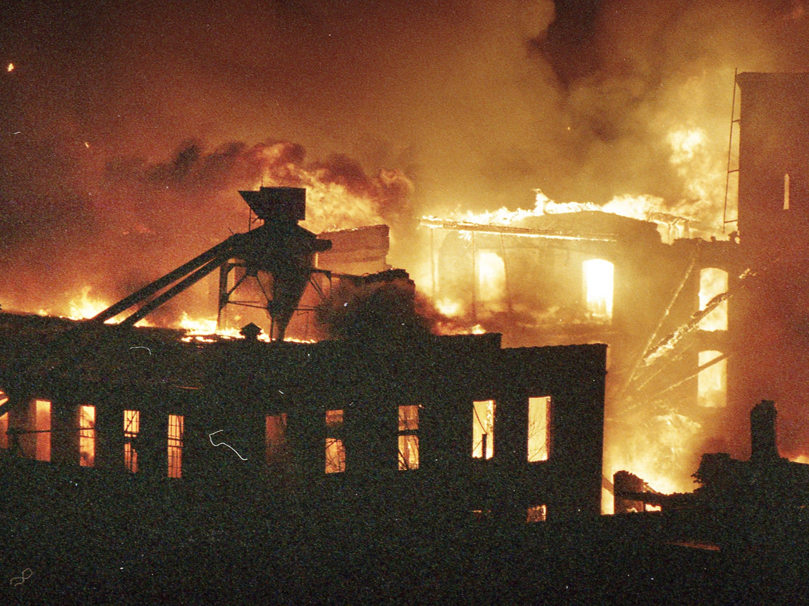 Fire rages inside the Thonet complex. A fire began at the former Thonet Furniture plant at 491 East Princess Street  in York on December 11, 1993. Eventually, the four alarm fire spread through the complex of buildings and several other properties.