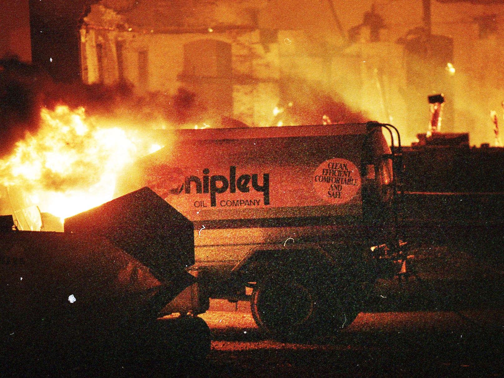 A Shipley fuel tanker burns as the fire speads from the Thonet complex. A fire began at the former Thonet Furniture plant at 491 East Princess Street in York on December 11, 1993. Eventually, the four alarm fire spread through the complex of buildings and several other properties.