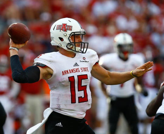 Arkansas State quarterback Justice Hansen has thrown for nearly 10,000 yards in his three seasons with the Red Wolves.