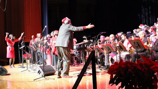 "The choir and band at Reno Jazz Orchestra's 2017 performance, ""A Gospel Christmas."""