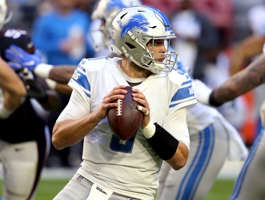 Detroit Lions quarterback Matthew Stafford looks to throw against the Arizona Cardinals. Veteran QB is having an off year with 18 TDs, 11 interceptions and 37 sacks.