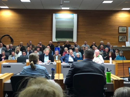 Members of the public fill the Salem council chambers Dec. 10, 2018, to hear testimony on plans to develop a 24-acre shopping center in Southeast Salem. The council voted to reject the proposal
