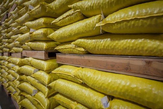 Bags of hazelnuts are prepared for shipment to China at a new state-of-the-art processing plant in Donald, Oregon.