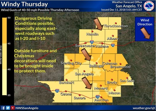 40-50 mph winds could be coming to San Angelo and Abilene regions Thursday, Dec. 13, 2018.