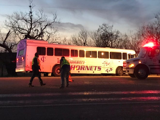 No students were injured in crash involving an Irion County ISD bus and pickup Monday, Dec. 10, 2018. The crash happened about 5 miles north of San Angelo and the bus was carrying students to Robert Lee for junior high basketball games.