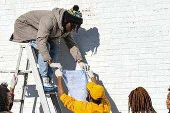 UMES students created and installed a mural of Black Panther's T'Challa in downtown Princess Anne in this time-lapse video on Tuesday, Dec 11, 2018.