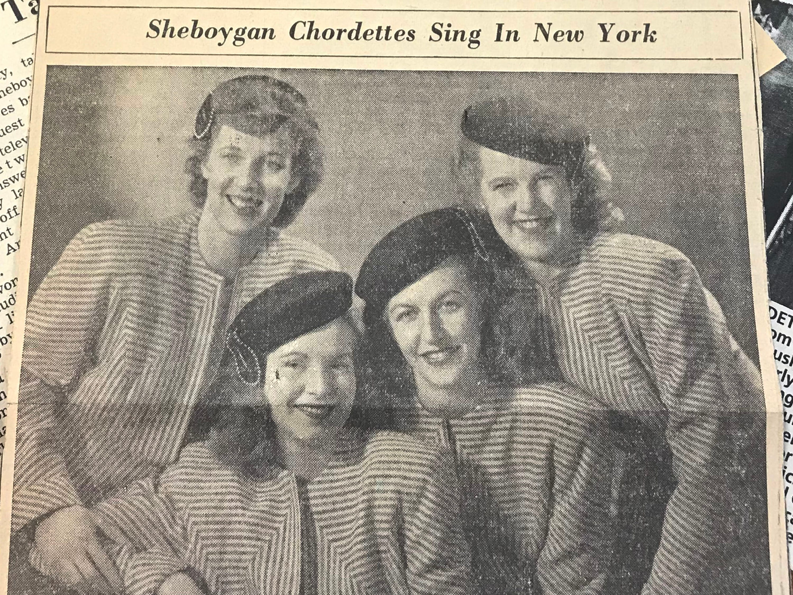 A clipping from the Sheboygan Press back in 1947 of the Chordettes.
