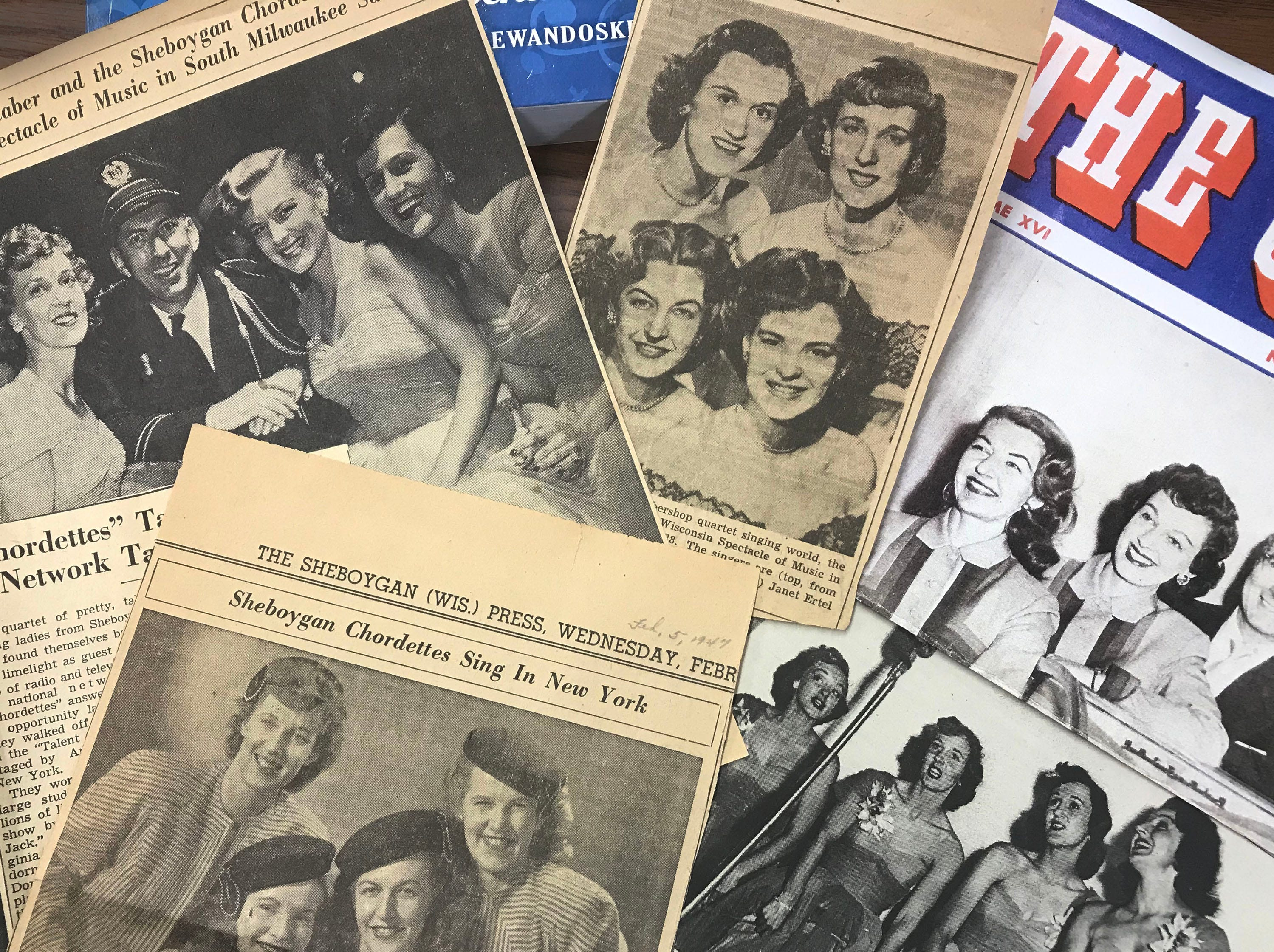 A group of clippings from various sources  of the Chordettes through the years.