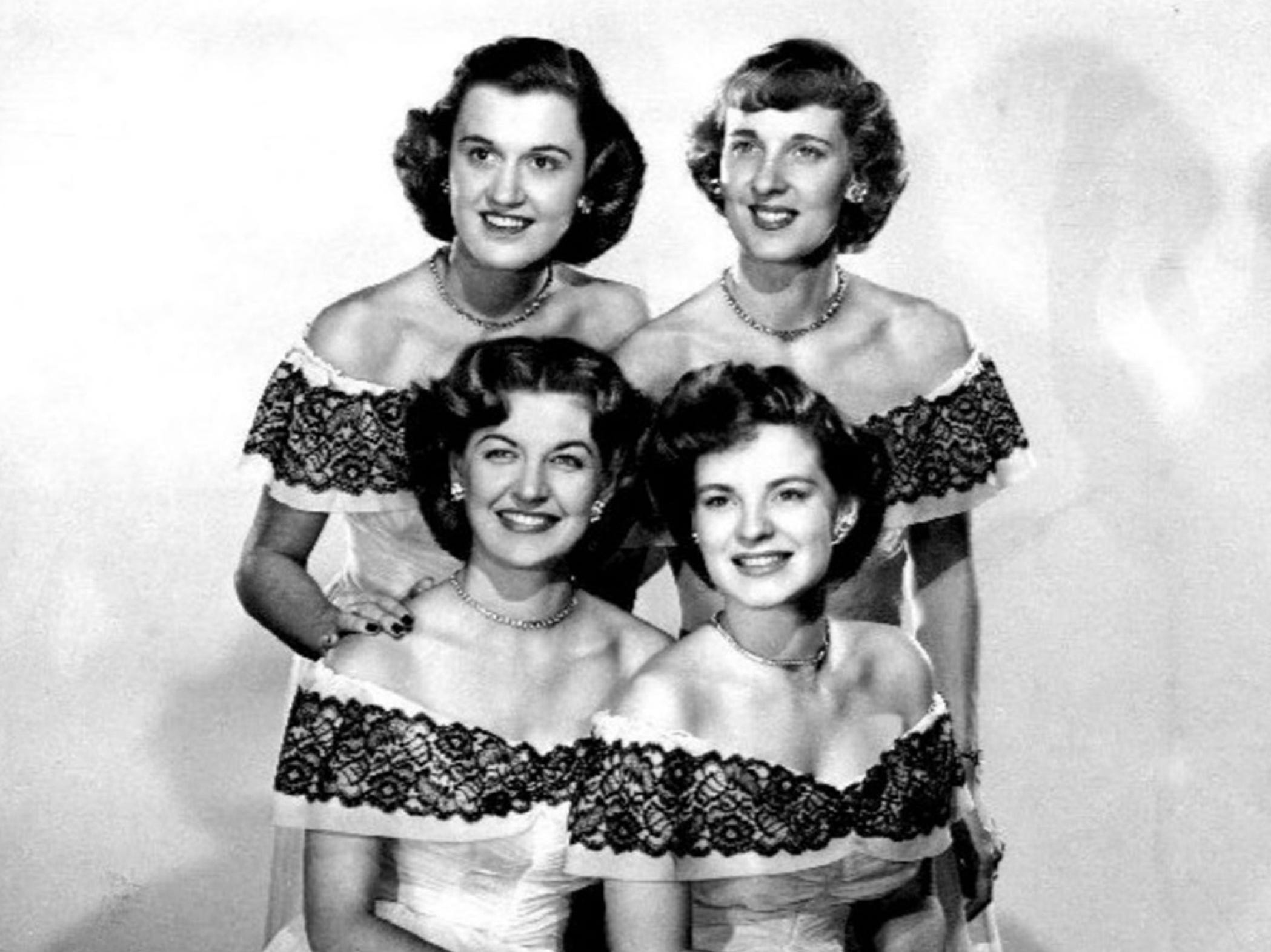This is a handout promotional photo of the Chordettes from the 1950s.