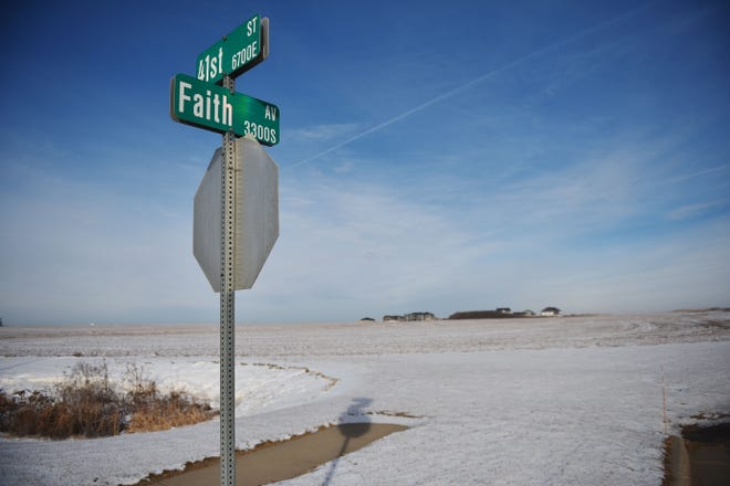 Vacant land north of 41st Street, east of Highway 11 and immediately west of Faith Avenue Tuesday, Dec. 11, in Sioux Falls. There is 23.18 acres of land at this proposed location for the new middle school.