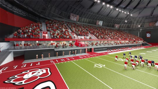 A rendering of what the west side of the DakotaDome will look like after the remodeling is completed.