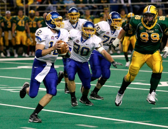 Ryan Crawford, South Dakota State's second string quarterback, came in for the injured Ryan Berry in 2008 in the first half during their game at the Fargodome on the campus of North Dakota State University in Fargo, ND.