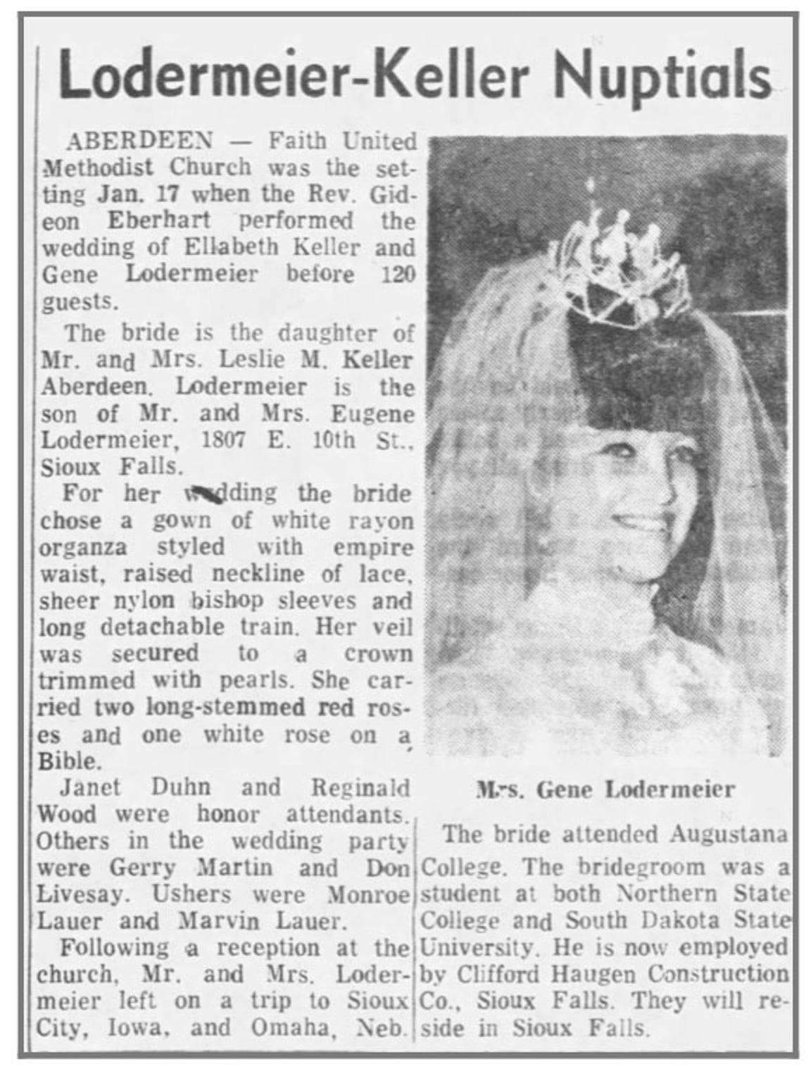Argus Leader article Jan. 27, 1970.