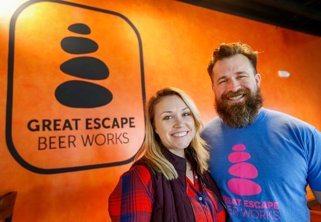 Co-owners Jake and Jen Duensing are opening Great Escape Beer Works at 4022 S. Lone Pine Ave. in Quarry Town on Saturday, Dec. 15, 2018.