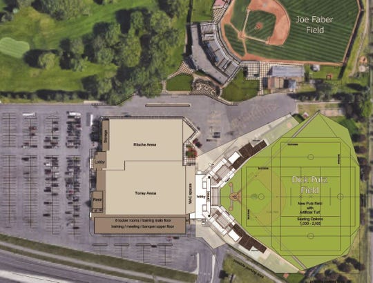 A drawing shows improvement plans for St. Cloud Municipal Athletic Complex, which includes an expansion of the ice arena, replacement of Dick Putz Field and artificial turf installation at Dick Putz and Joe Faber fields.