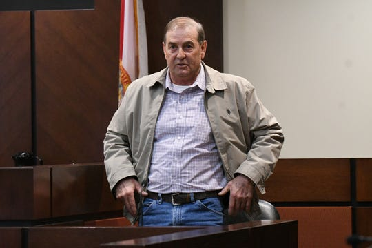 During the first day of Denise Williams' trial for the murder of her husband, Mike Williams, Tuesday, Dec. 11, 2018, a witness Jospeh Sheffield, a Sneads fisherman, describes what Mike Williams' waders looked like in the water, six months after Williams' went missing.