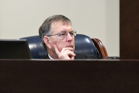 Leon County Circuit Judge James Hankinson listens intently to the testimony given by Brian Winchester, the man who shot and killed Mike Williams, during the trial against Denise Williams, Tuesday, Dec. 11, 2018.