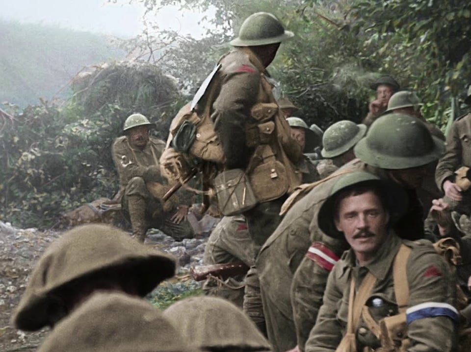 Colorized WWI footage featured in Peter Jackson documentary 'They Shall Not Grow Old'