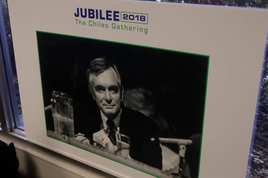 Photos of Former Governor Lawton Chiles are on display during a gathering to remember Chiles the day before the anniversary of his death at Sachs Media Group Tuesday, Dec. 11, 2018.