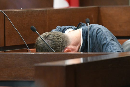 A recess is taken to give time to Brian Winchester to collect himself before continuing his testimony in the trial against Denise Williams for the murder of her husband, Mike Williams, Tuesday, Dec. 11, 2018.