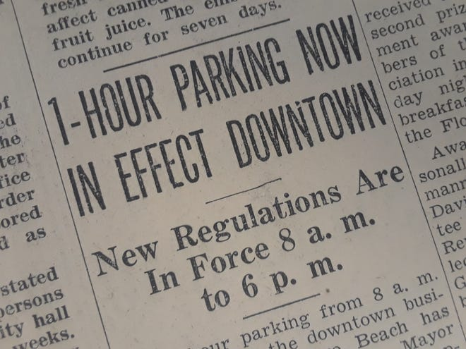 One-hour parking in the downtown business section of Vero Beach.