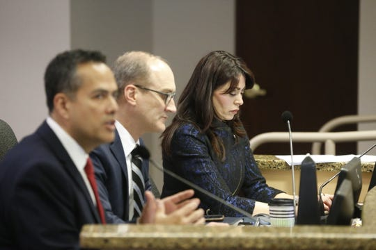 City Manager Tommy Gonzalez, Deputy City Manager Cary Westin and City Attorney Karla Nieman attend the City Council meeting Tuesday, Dec. 11, 2018.