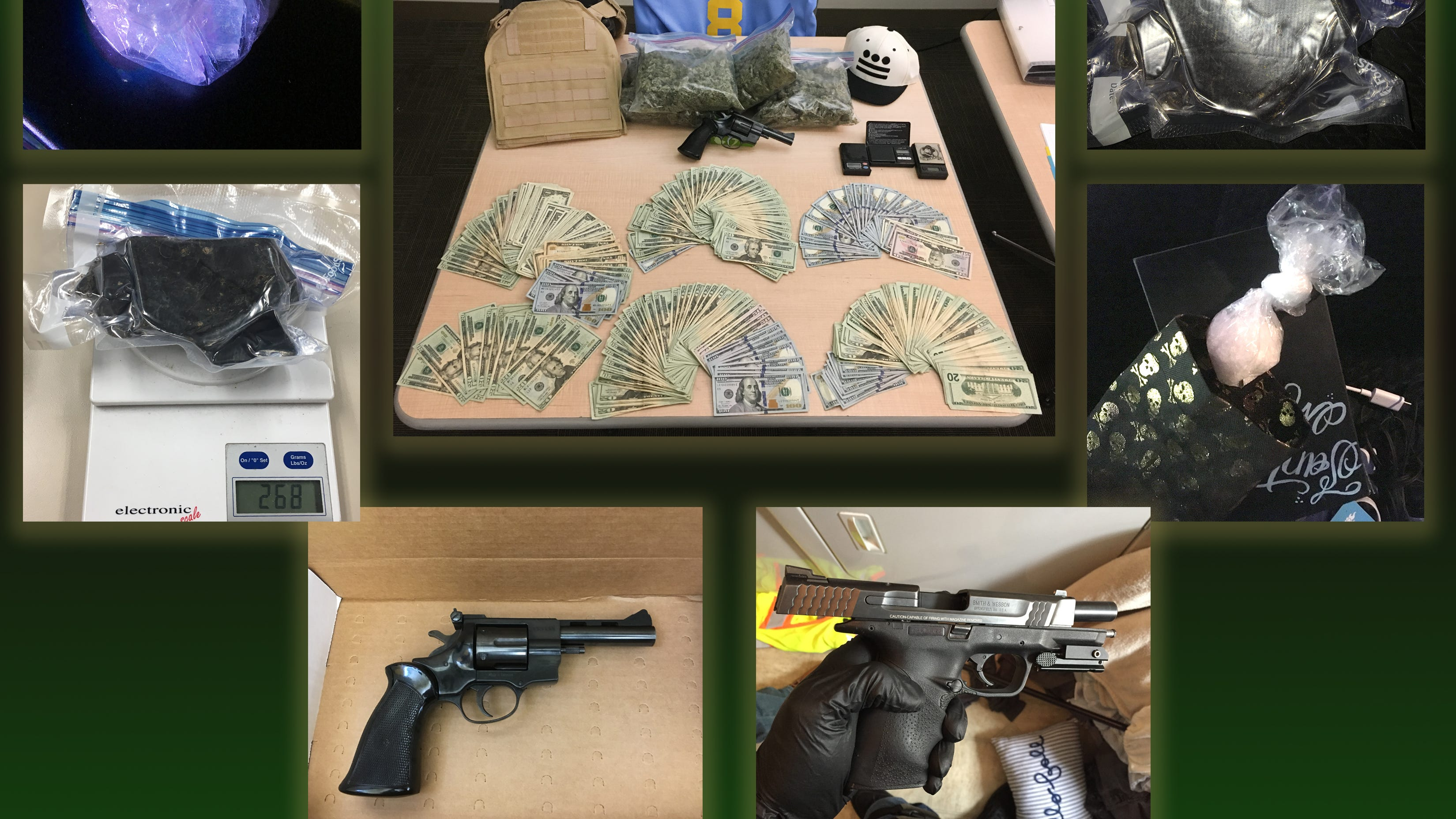 Ventura County Sheriff's investigators seized heroin, methamphetamine, cocaine, guns, ammunition and cash last week when busting up an alleged drug trafficking organization being run from prison.