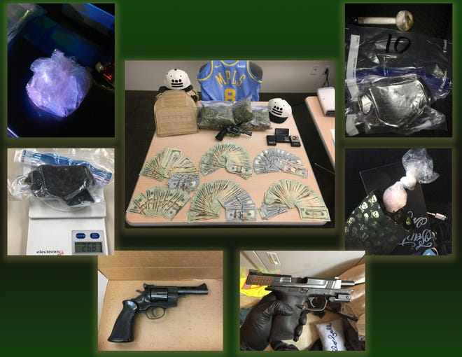 Ventura County Sheriff's investigators seized heroin, methamphetamine, cocaine, guns, ammunition and cash during the week of Dec. 3, 2018 when busting up an alleged drug trafficking organization being run from prison.