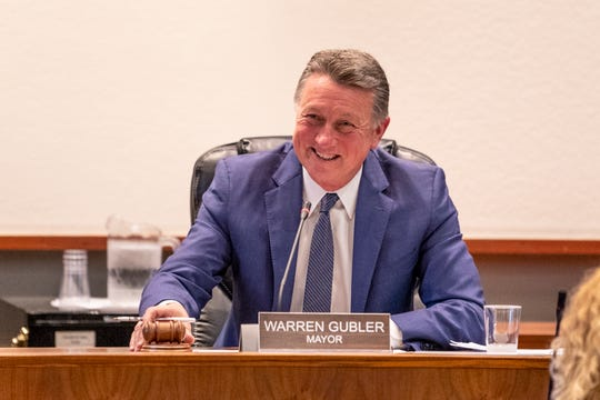 Outgoing Mayor Warren Gubler reflects on the Council's accomplishments in his final remarks as a council memberduring Monday's  meeting.