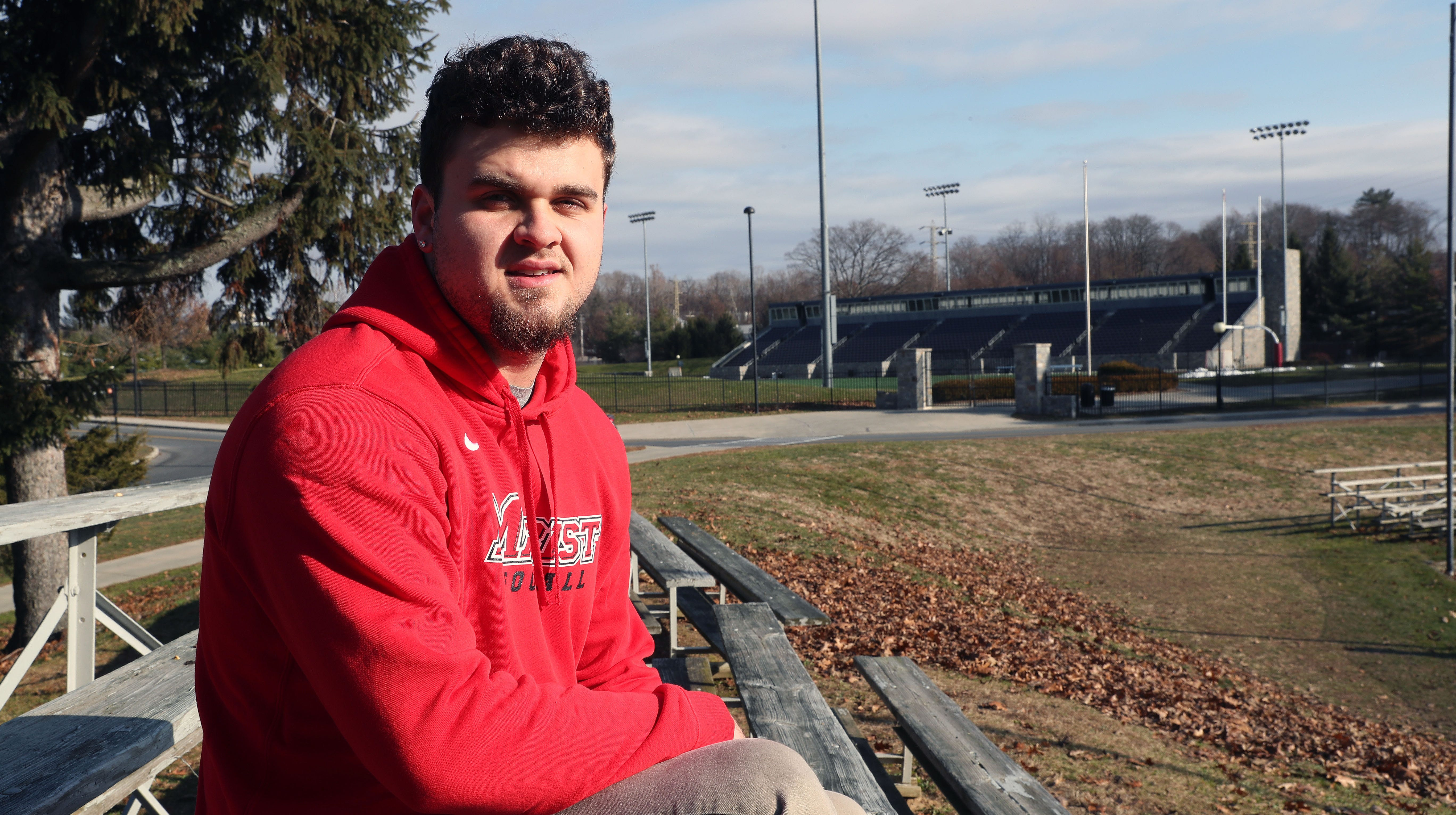 """Former Ardsley standout Julian McGarvey talks about adjusting to college life and about the upcoming anniversary of """"The Shot""""  while sitting outside the football stadium at Marist College in Poughkeepsie Dec. 8, 2018."""